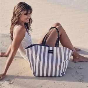 Victoria's Secret Gray White Stripe Canvas Tote